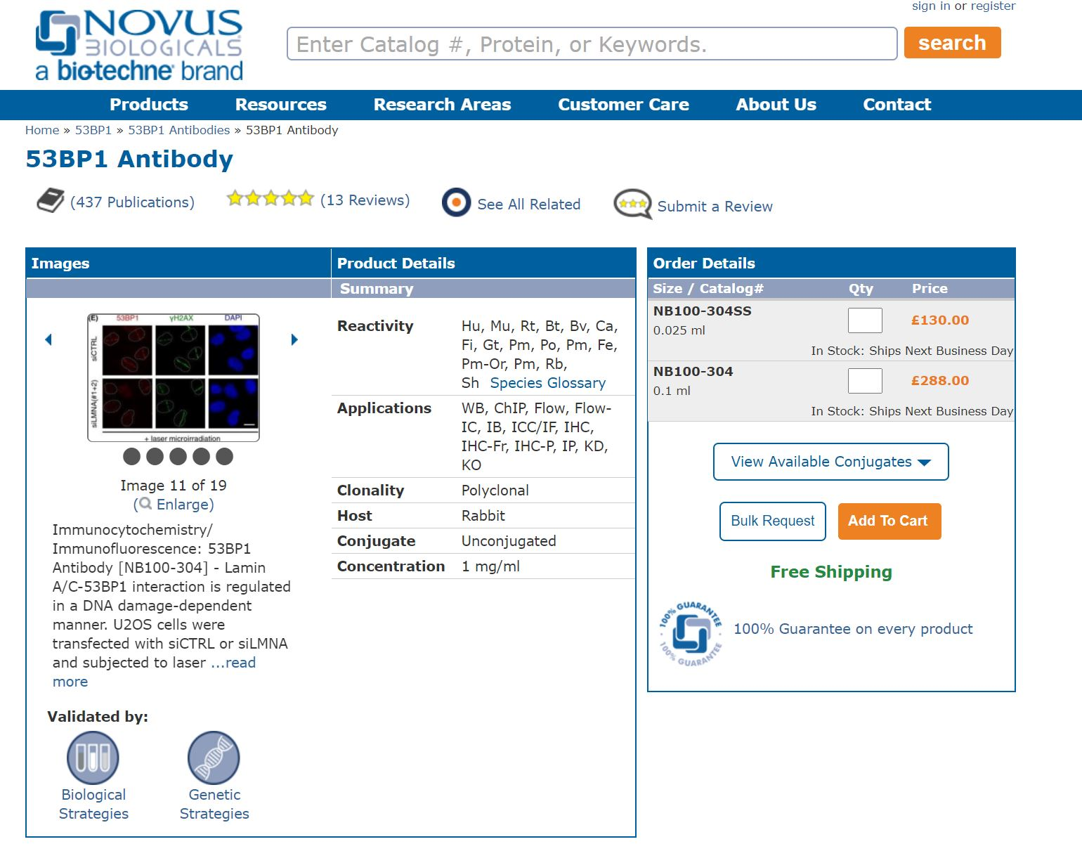 Example usage of the image widget by Novus Biologicals